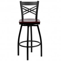 Flash Furniture XU-6F8B-XSWVL-MAHW-GG HERCULES Black X Back Swivel Metal Barstool - Mahogany Wood Seat addl-3