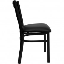 Flash Furniture XU-6FOBXBK-BLKV-GG HERCULES Series Black X Back Metal Restaurant Chair - Black Vinyl Seat addl-4