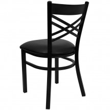 Flash Furniture XU-6FOBXBK-BLKV-GG HERCULES Series Black X Back Metal Restaurant Chair - Black Vinyl Seat addl-1