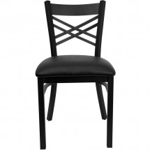 Flash Furniture XU-6FOBXBK-BLKV-GG HERCULES Series Black X Back Metal Restaurant Chair - Black Vinyl Seat addl-2
