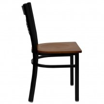 Flash Furniture XU-6FOBXBK-CHYW-GG HERCULES Series Black X Back Metal Restaurant Chair - Cherry Wood Seat addl-4