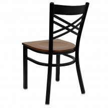 Flash Furniture XU-6FOBXBK-CHYW-GG HERCULES Series Black X Back Metal Restaurant Chair - Cherry Wood Seat addl-1