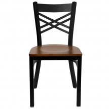Flash Furniture XU-6FOBXBK-CHYW-GG HERCULES Series Black X Back Metal Restaurant Chair - Cherry Wood Seat addl-2