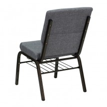 "Flash Furniture XU-CH-60096-BEIJING-GY-BAS-GG HERCULES Series 18-1/2"" Wide Gray Church Chair with 4-1/2"" Thick Seat Book Rack - Gold Vein Frame addl-2"