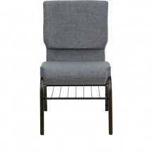 "Flash Furniture XU-CH-60096-BEIJING-GY-BAS-GG HERCULES Series 18-1/2"" Wide Gray Church Chair with 4-1/2"" Thick Seat Book Rack - Gold Vein Frame addl-3"
