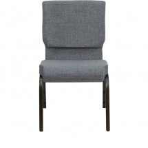 "Flash Furniture XU-CH-60096-BEIJING-GY-GG HERCULES Series 18-1/2"" Wide Gray Stacking Church Chair with 4-1/4"" Thick Seat - Gold Vein Frame addl-3"