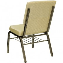 "Flash Furniture XU-CH-60096-BGE-BAS-GG HERCULES Series 18-1/2"" Wide Beige Patterned Church Chair with 4-1/4"" Thick Seat Book Rack - Gold Vein Frame addl-2"