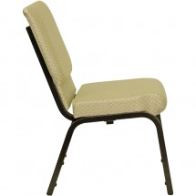 """Flash Furniture XU-CH-60096-BGE-GG HERCULES Series 18-1/2"""" Wide Beige Patterned Stacking Church Chair with 4-1/4"""" Thick Seat - Gold Vein Frame addl-1"""