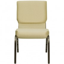 """Flash Furniture XU-CH-60096-BGE-GG HERCULES Series 18-1/2"""" Wide Beige Patterned Stacking Church Chair with 4-1/4"""" Thick Seat - Gold Vein Frame addl-3"""