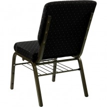 "Flash Furniture XU-CH-60096-BK-BAS-GG HERCULES Series 18-1/2"" Wide Black Dot Patterned Church Chair with 4-1/4"" Thick Seat Book Rack - Gold Vein Frame addl-2"