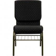 "Flash Furniture XU-CH-60096-BK-BAS-GG HERCULES Series 18-1/2"" Wide Black Dot Patterned Church Chair with 4-1/4"" Thick Seat Book Rack - Gold Vein Frame addl-3"