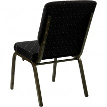 """Flash Furniture XU-CH-60096-BK-GG HERCULES Series 18-1/2"""" Wide Black Dot Patterned Stacking Church Chair with 4-1/4"""" Thick Seat - Gold Vein Frame addl-2"""