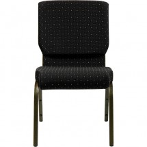 """Flash Furniture XU-CH-60096-BK-GG HERCULES Series 18-1/2"""" Wide Black Dot Patterned Stacking Church Chair with 4-1/4"""" Thick Seat - Gold Vein Frame addl-3"""