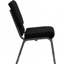 """Flash Furniture XU-CH-60096-BK-SV-GG HERCULES Series 18-1/2"""" Wide Black Stacking Church Chair with 4-1/4"""" Thick Seat - Silver Vein Frame addl-1"""