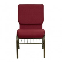 "Flash Furniture XU-CH-60096-BY-BAS-GG HERCULES Series 18-1/2"" Wide Burgundy Church Chair with 4-1/4"" Thick Seat Book Rack - Gold Vein Frame addl-3"