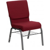 "Flash Furniture XU-CH-60096-BY-SILV-BAS-GG HERCULES Series 18-1/2"" Wide Burgundy Church Chair with 4-1/4"" Thick Seat Book Rack - Silver Vein Frame addl-1"