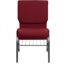"Flash Furniture XU-CH-60096-BY-SILV-BAS-GG HERCULES Series 18-1/2"" Wide Burgundy Church Chair with 4-1/4"" Thick Seat Book Rack - Silver Vein Frame addl-3"