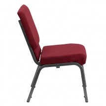 "Flash Furniture XU-CH-60096-BY-SILV-GG HERCULES Series 18-1/2"" Wide Burgundy Stacking Church Chair with 4-1/4"" Thick Seat - Silver Vein Frame addl-1"
