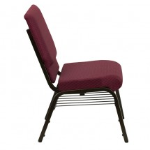 "Flash Furniture XU-CH-60096-BYXY56-BAS-GG HERCULES 18-1/2"" Wide Burgundy Patterned Church Chair with 4-1/4"" Thick Seat Book Rack - Gold Vein Frame addl-1"