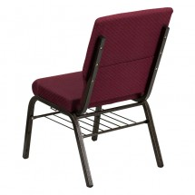 "Flash Furniture XU-CH-60096-BYXY56-BAS-GG HERCULES 18-1/2"" Wide Burgundy Patterned Church Chair with 4-1/4"" Thick Seat Book Rack - Gold Vein Frame addl-2"