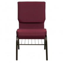 "Flash Furniture XU-CH-60096-BYXY56-BAS-GG HERCULES 18-1/2"" Wide Burgundy Patterned Church Chair with 4-1/4"" Thick Seat Book Rack - Gold Vein Frame addl-3"