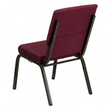 "Flash Furniture XU-CH-60096-BYXY56-GG HERCULES Series 18-1/2"" Wide Burgundy Patterned Stacking Church Chair with 4-1/4"" Thick Seat - Gold Vein Frame addl-2"