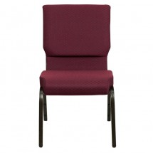 "Flash Furniture XU-CH-60096-BYXY56-GG HERCULES Series 18-1/2"" Wide Burgundy Patterned Stacking Church Chair with 4-1/4"" Thick Seat - Gold Vein Frame addl-3"