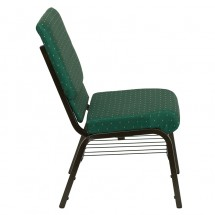 "Flash Furniture XU-CH-60096-GN-BAS-GG HERCULES Series 18-1/2"" Wide Green Patterned Church Chair with 4-1/4"" Thick Seat Book Rack - Gold Vein Frame addl-1"
