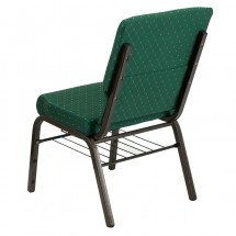 """Flash Furniture XU-CH-60096-GN-BAS-GG HERCULES Series 18-1/2"""" Wide Green Patterned Church Chair with 4-1/4"""" Thick Seat Book Rack - Gold Vein Frame addl-2"""