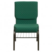 "Flash Furniture XU-CH-60096-GN-BAS-GG HERCULES Series 18-1/2"" Wide Green Patterned Church Chair with 4-1/4"" Thick Seat Book Rack - Gold Vein Frame addl-3"