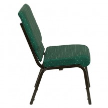 "Flash Furniture XU-CH-60096-GN-GG HERCULES Series 18-1/2"" Wide Green Patterned Stacking Church Chair with 4-1/4"" Thick Seat - Gold Vein Frame addl-1"