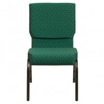"Flash Furniture XU-CH-60096-GN-GG HERCULES Series 18-1/2"" Wide Green Patterned Stacking Church Chair with 4-1/4"" Thick Seat - Gold Vein Frame addl-3"