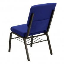 Flash Furniture XU-CH-60096-NVY-BAS-GG HERCULES Series 18-1/2 Wide Navy Blue Church Chair with  Book Rack - Gold Vein Frame addl-1