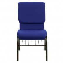 Flash Furniture XU-CH-60096-NVY-BAS-GG HERCULES Series 18-1/2 Wide Navy Blue Church Chair with  Book Rack - Gold Vein Frame addl-2