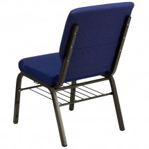 Flash Furniture XU-CH-60096-NVY-DOT-BAS-GG HERCULES 18-1/2 Wide Navy Blue Dot Patterned Church Chair with Book Rack - Gold Vein Frame addl-1