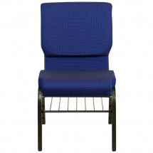 Flash Furniture XU-CH-60096-NVY-DOT-BAS-GG HERCULES 18-1/2 Wide Navy Blue Dot Patterned Church Chair with Book Rack - Gold Vein Frame addl-2