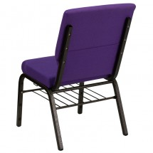 "Flash Furniture XU-CH-60096-PU-BAS-GG HERCULES Series 18-1/2"" Wide Purple Church Chair with 4-1/4"" Thick Seat Book Rack - Gold Vein Frame addl-2"