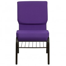 "Flash Furniture XU-CH-60096-PU-BAS-GG HERCULES Series 18-1/2"" Wide Purple Church Chair with 4-1/4"" Thick Seat Book Rack - Gold Vein Frame addl-3"