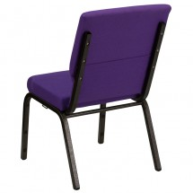 "Flash Furniture XU-CH-60096-PU-GG HERCULES Series 18-1/2"" Wide Purple Stacking Church Chair with 4-1/2"" Thick Seat - Gold Vein Frame addl-2"