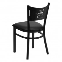 Flash Furniture XU-DG-60099-COF-BLKV-GG HERCULES Series Black Coffee Back Metal Restaurant Chair - Black Vinyl Seat addl-1