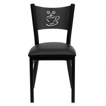 Flash Furniture XU-DG-60099-COF-BLKV-GG HERCULES Series Black Coffee Back Metal Restaurant Chair - Black Vinyl Seat addl-2
