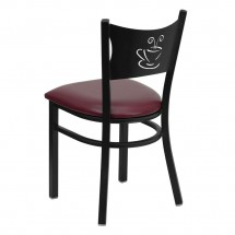 Flash Furniture XU-DG-60099-COF-BURV-GG HERCULES Series Black Coffee Back Metal Restaurant Chair - Burgundy Vinyl Seat addl-1