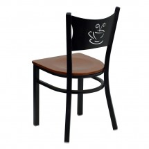Flash Furniture XU-DG-60099-COF-CHYW-GG HERCULES Series Black Coffee Back Metal Restaurant Chair - Cherry Wood Seat addl-1