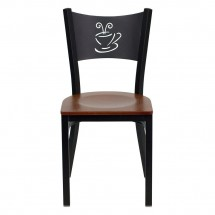 Flash Furniture XU-DG-60099-COF-CHYW-GG HERCULES Series Black Coffee Back Metal Restaurant Chair - Cherry Wood Seat addl-2