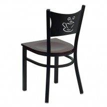 Flash Furniture XU-DG-60099-COF-MAHW-GG HERCULES Series Black Coffee Back Metal Restaurant Chair - Mahogany Wood Seat addl-1