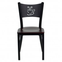 Flash Furniture XU-DG-60099-COF-MAHW-GG HERCULES Series Black Coffee Back Metal Restaurant Chair - Mahogany Wood Seat addl-2
