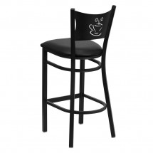 Flash Furniture XU-DG-60114-COF-BAR-BLKV-GG HERCULES Series Black Coffee Back Metal Restaurant Bar Stool - Black Vinyl Seat addl-1