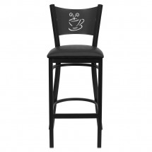 Flash Furniture XU-DG-60114-COF-BAR-BLKV-GG HERCULES Series Black Coffee Back Metal Restaurant Bar Stool - Black Vinyl Seat addl-2