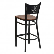Flash Furniture XU-DG-60114-COF-BAR-CHYW-GG HERCULES Series Black Coffee Back Metal Restaurant Bar Stool - Cherry Wood Seat addl-1