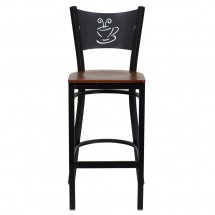 Flash Furniture XU-DG-60114-COF-BAR-CHYW-GG HERCULES Series Black Coffee Back Metal Restaurant Bar Stool - Cherry Wood Seat addl-2